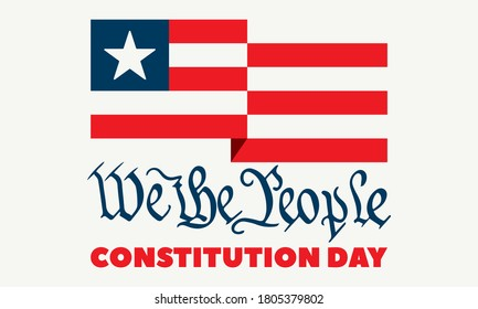 Constitution Day in United States. Celebrate annual in September 17. We the People text. Patriotic stars and flag elements. Poster, banner, background design. Vector illustration EPS 10.