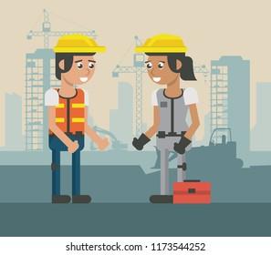 Construcion workers geometric cartoons