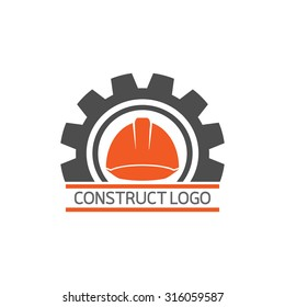 Construct building logo on white background : icon vector: Industrial working industry concept.