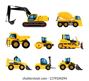 Construct machines. Heavy machinery vehicles large buldozer bauean roller excavator concrete mixer and loader vector transport
