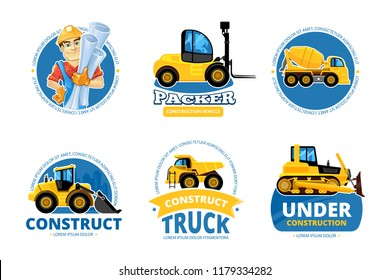 Construct machines logo. Heavy machinery vehicles large buldozer bauean roller excavator concrete mixer and loader vector logotypes or labels for builders