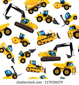 Construct machines pattern. Heavy machinery vehicles large buldozer bauean roller excavator concrete mixer and loader vector seamless background with transport