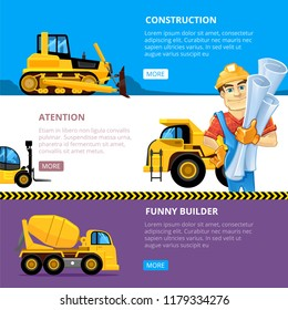 Construct machines web banners. Heavy machinery vehicles large buldozer bauean roller excavator concrete mixer and loader transport vector business illustrations for builders