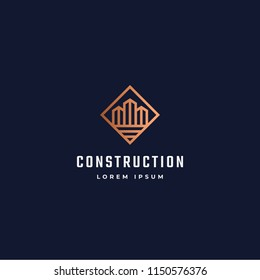 Construction Abstract Vector Sign, Symbol or Logo Template. Skyscraper Buildings in a Square Frame with Modern Typography. Real Estate Retro Emblem. Isolated.