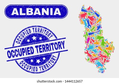 Construction Albania map and blue Occupied Territory scratched seal. Bright vector Albania map mosaic of service units. Blue round Occupied Territory seal.