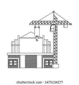 construction architectural engineering work, heavy crane with house under construction cartoon vector illustration graphic design