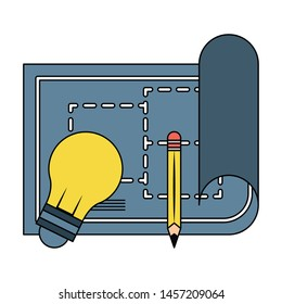 construction architectural project blueprint plan with engineer tools cartoon vector illustration graphic design