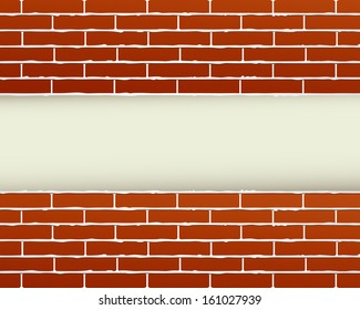 construction background with red brick wall and place for text