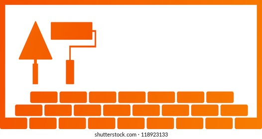 construction background with repair tools - trowel and roller, and place for text