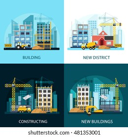 Construction banners set with construction equipment. Process of construction of residential houses. Building process and tools: bulldozer, excavator, tractor, concrete mixer and construction crane.