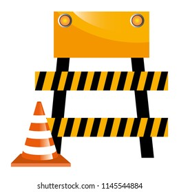 construction barricade fence with cone