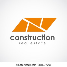 Construction of brick property abstract vector logo design template real estate business icon corporate identity symbol concept
