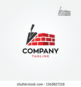Construction with bricks and trowel logo vector illustration