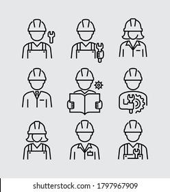 Konstrukteur-Arbeitsingenieur Avatar-Vektorliniensymbole