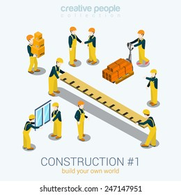 Construction builders people set flat 3d web isometric infographic concept vector. Yellow uniform building constructor worker staff brick box ruler window. Build your world creative people collection.