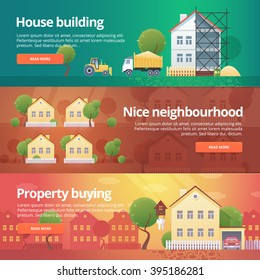 Construction and building banners set. Flat illustrations on the theme of property buying, neighborhood, house building, real estate.