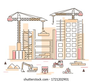 Construction Building Concept Contour Linear Style Include of Crane, Excavator and Tractor. Vector illustration of Lineart