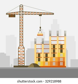 Construction, building a house - vector flat illustration.