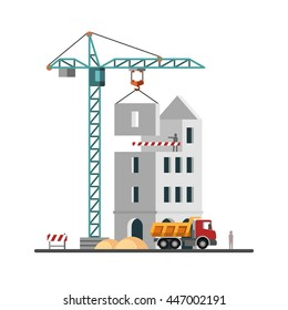 Construction. Building a house. Vector illustration.