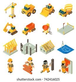Construction building icons set. Isometric illustration of 16 construction building vector icons for web