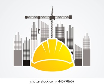 Construction building industry designed on tower and city background graphic vector.