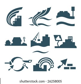 Construction, building, interior logos