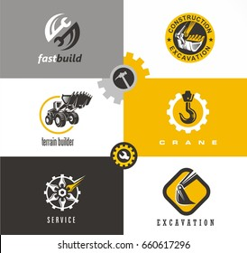 Construction and building symbols and logo designs set with bulldozer, crane, excavator, wrench tools and gears.