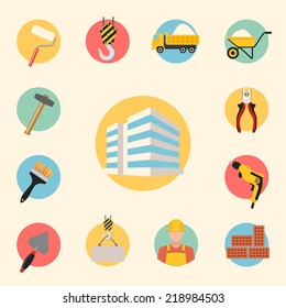 construction, building, tools and repair vector icons set. infographics template elements