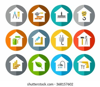 The construction of buildings, repair of buildings, icons, colored. Construction and repair of buildings and premises. Vector colored flat icons.