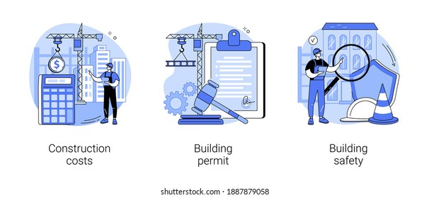 Construction business abstract concept vector illustration set. Construction costs, building permit and safety, protection helmet, contractor engineering, design project, investment abstract metaphor.