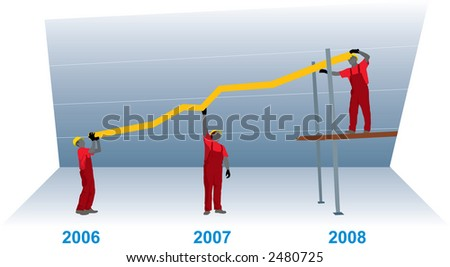 Construction Business Growth Chart Representing Success Stock Vector