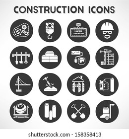 construction buttons, icon set