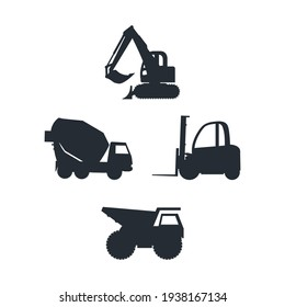 Construction car icon set, build machine, vector isolated illustration, side view on white background.