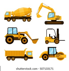 Construction cars icon set. Vector flat cartoon illustration
