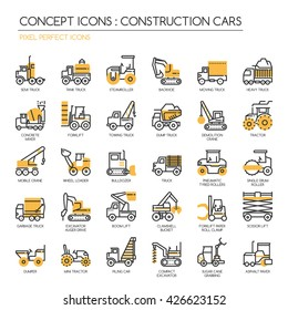 Construction Cars , Thin Line and Pixel Perfect Icons