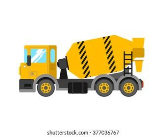 Construction cement mixer truck. Building concrete mixer car. Delivery concrete to construction. Concrete mixer truck vector illustration.