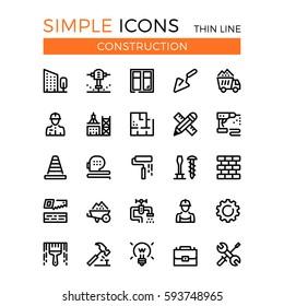 Construction, civil engineering, building vector thin line icons set. 32x32 px. Line graphic design concepts for websites, web design, mobile app, infographics. Pixel perfect vector outline icons set.