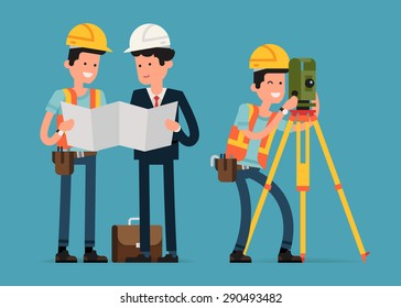 Construction and civil engineering industry characters featuring construction worker, architect and land surveyor interacting
