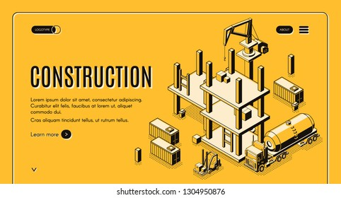 Concrete Construction Isometric Images, Stock Photos