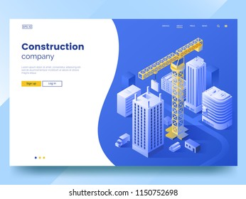 Construction company landing page template. Isometric Illustration of construction of the city. Tower crane and high-rise buildings. Modern web page interface design. Vector eps 10