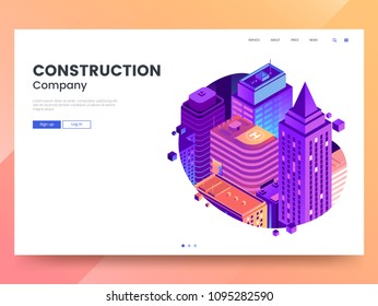 Construction company web page template. Vector city isometric with high-rise buildings in gradient colors. Modern Landing page interface design with colorful city illustration. Eps 10.