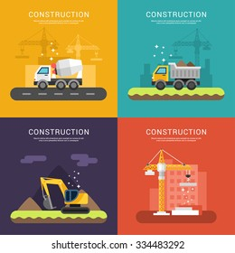 Construction Concept. Crane, Cement Mixers, Dump Truck and Excavator. Set of Vector Illustrations in Flat Design Style for Web Banners or Promotional Materials