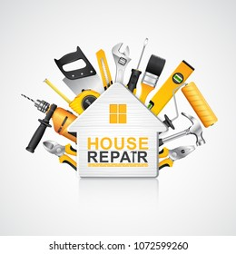 construction concept set all of tools supplies for house repair builder on white background vector illustration