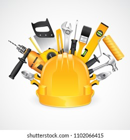 construction concept set all of tools supplies for construction builder on white background vector illustration