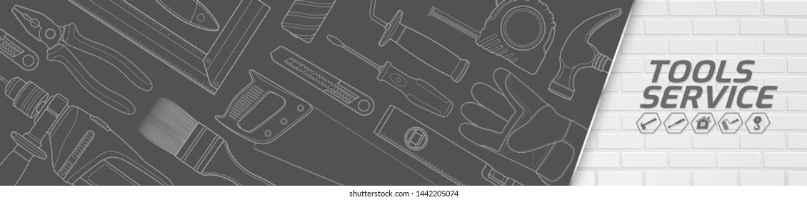 Construction concept tools shop service horizontal banner and flat icons set all of tools supplies for house repair builder on white background vector illustration