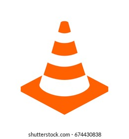 Construction cone vector icon on white background. Abstract flat web design element for website, app or infographics materials.