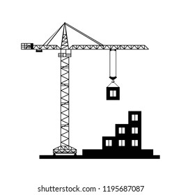 construction crane assembles building icon. black isolated.
