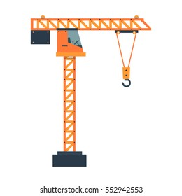 Construction crane. Equipment in flat style. Vector illustration isolated on white background.