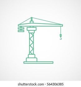 Construction Crane Green Line Icon On White Background