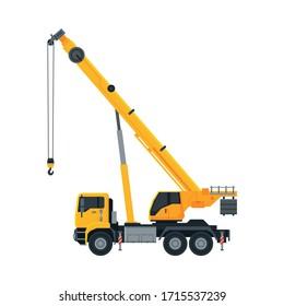 Construction Crane, Heavy Special Transport, Side View Flat Vector Illustration